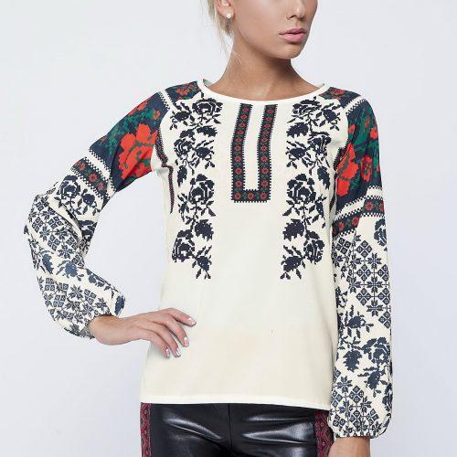 Купить блузу молочного цвета с длинным рукавом