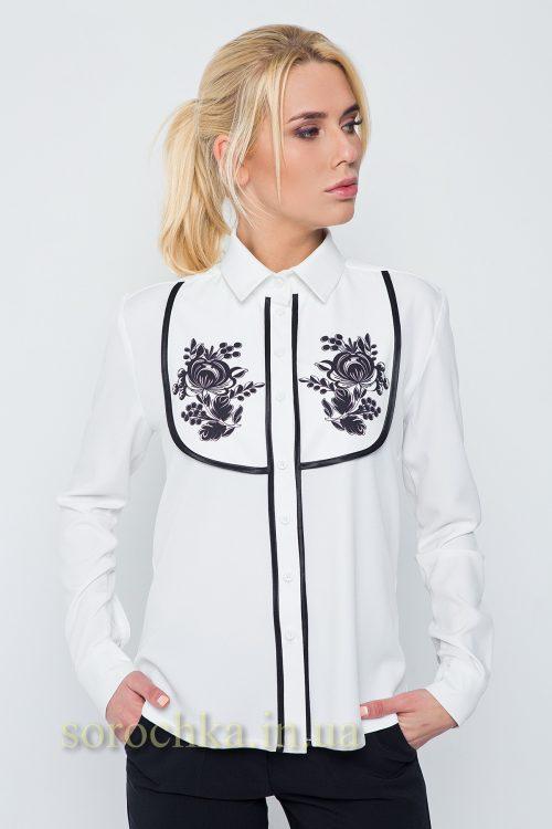 Купить белую блузу с длинным рукавом и цветочным принтом