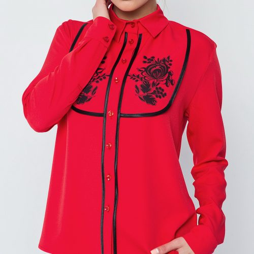Купить блузу красного цвета с длинным рукавом и цветочным принтом
