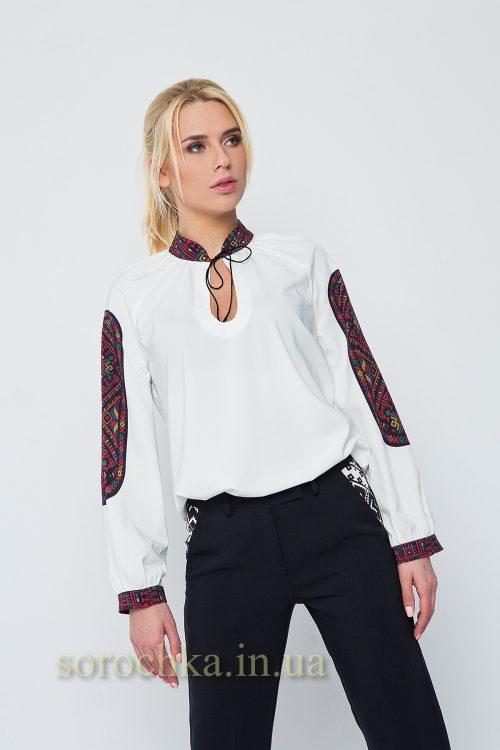 Купить белую блузу украшенную оригинальным орнаментом