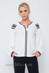 Купить изысканную блузу белого цвета, с длинным рукавом