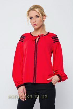 Купить изысканную блузу красного цвета с длинным рукавом