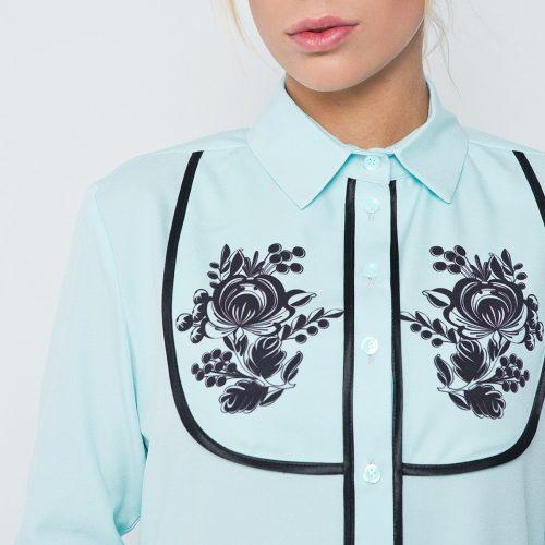 Купить блузу мятного цвета с длинным рукавом