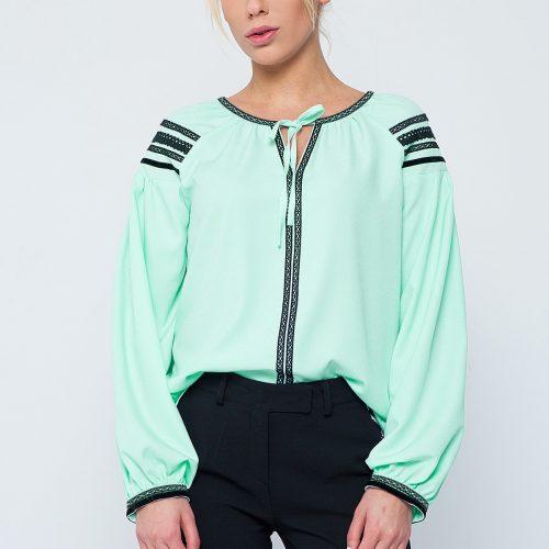 Купить изысканную блузу мятного цвета, с длинным рукавом